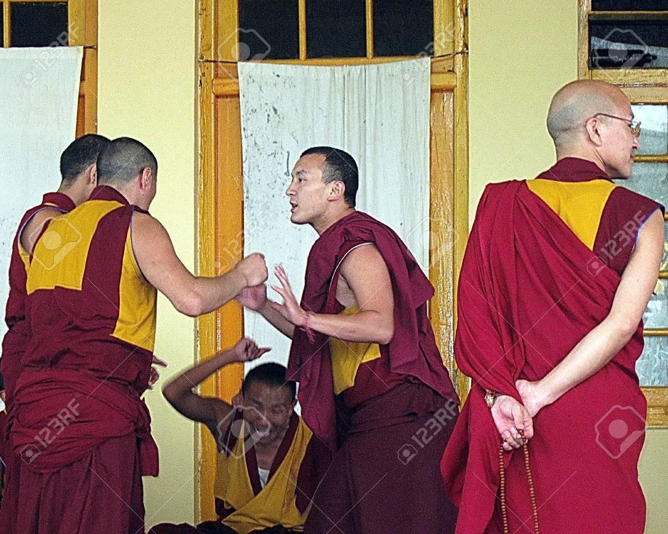 Tibetan Buddhist Gelugpa Monk Debate Dharamsala India Stock Photo - 53148588