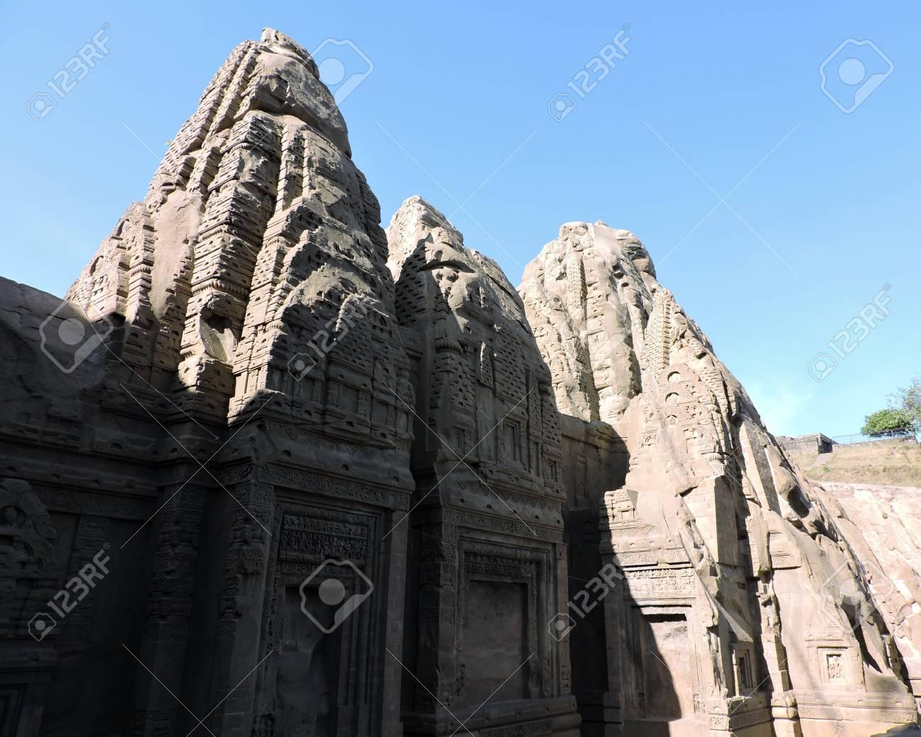 India Architecture Masroor Rock Cut Temple Stock Photo - 50491682