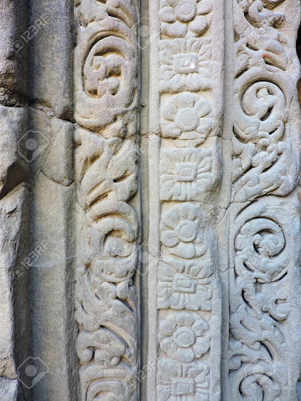 India Architecture Column Masroor Rock Cut Temple Stock Photo - 50491772