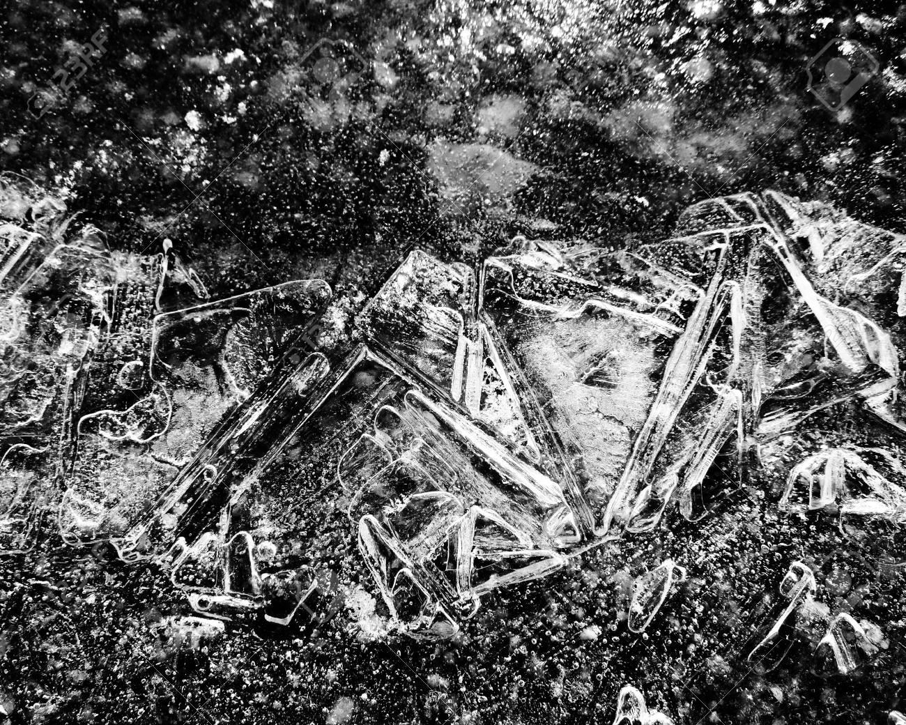 Ice Crystals Winter Background Monochrome Stock Photo - 50797435