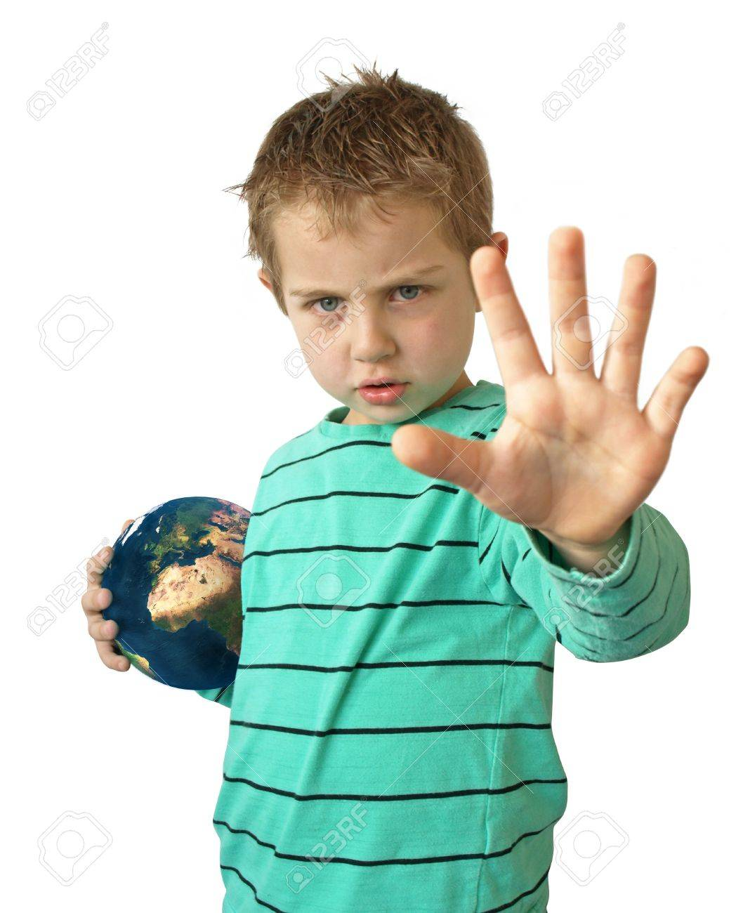 Child holding earth globe stop now Stock Photo - 21085392