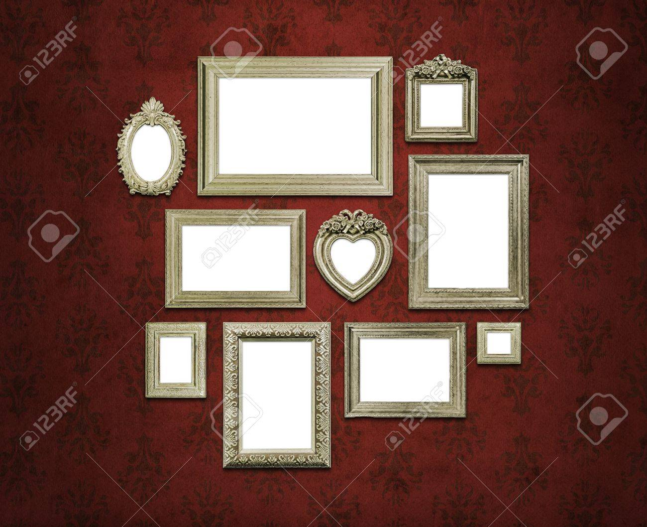 Empty family frames on art deco or vintage walls Stock Photo - 19200603