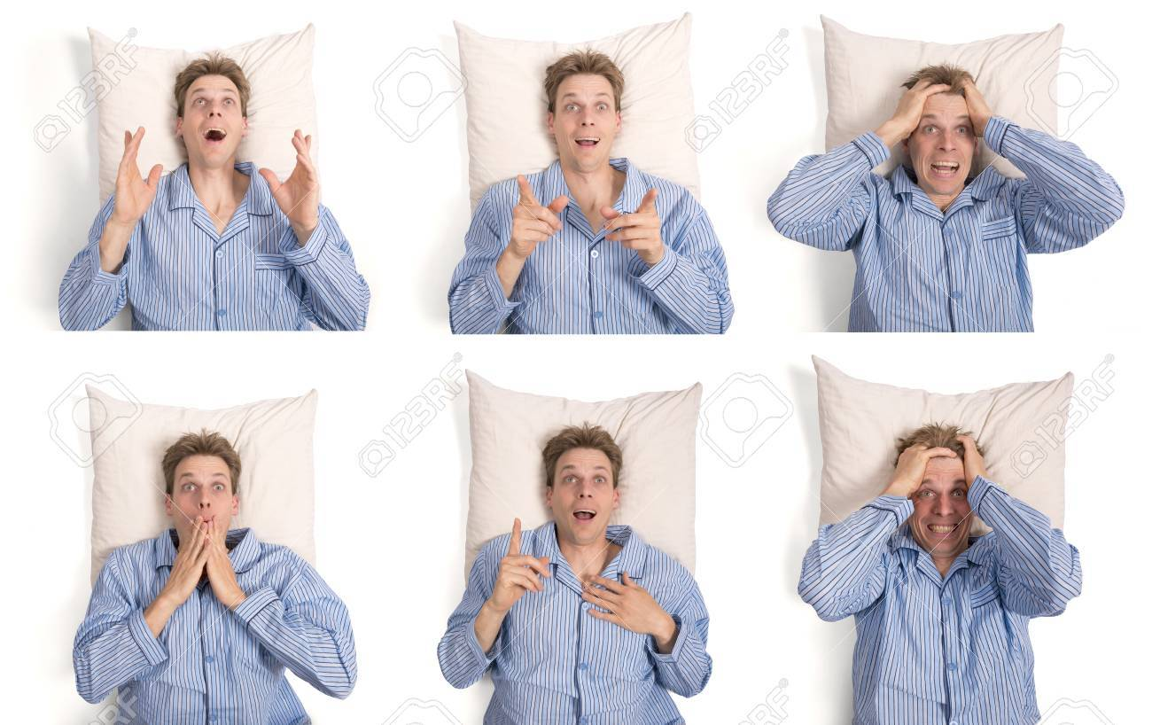Set of man in pajamas on his pillow showing different expressions Stock Photo - 21695194