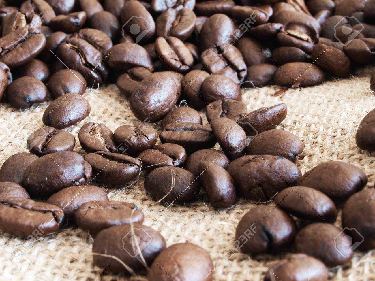 Close-up of coffee beans on fabric Stock Photo - 21924753
