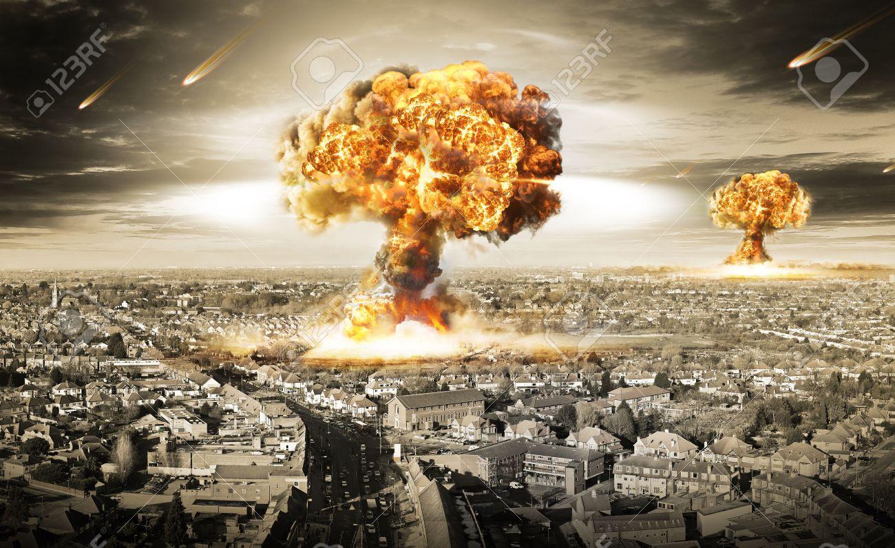 Ilustración Guerra Nuclear Con Múltiples Explosiones Fotos ...