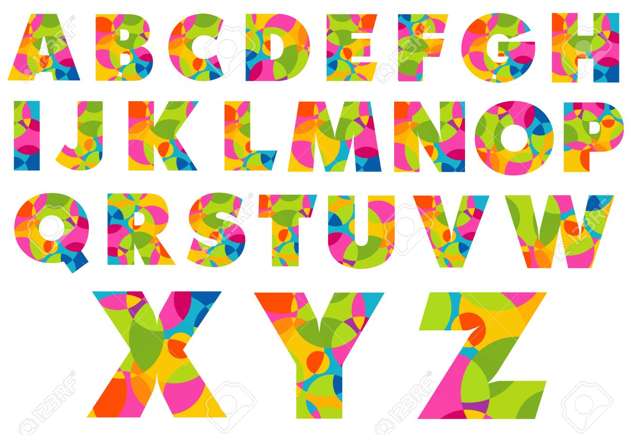 Alphabet Colorful Letters. Creative Letters Of Alphabet. Royalty