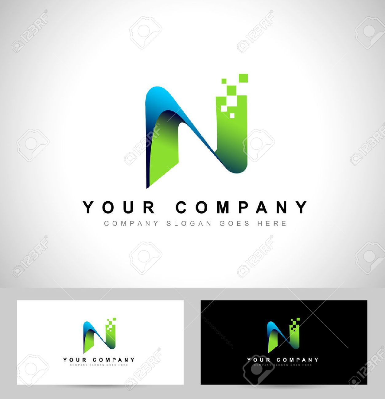 Letter n design creative letter n vector icon with business card creative letter n vector icon with business card template reheart Images
