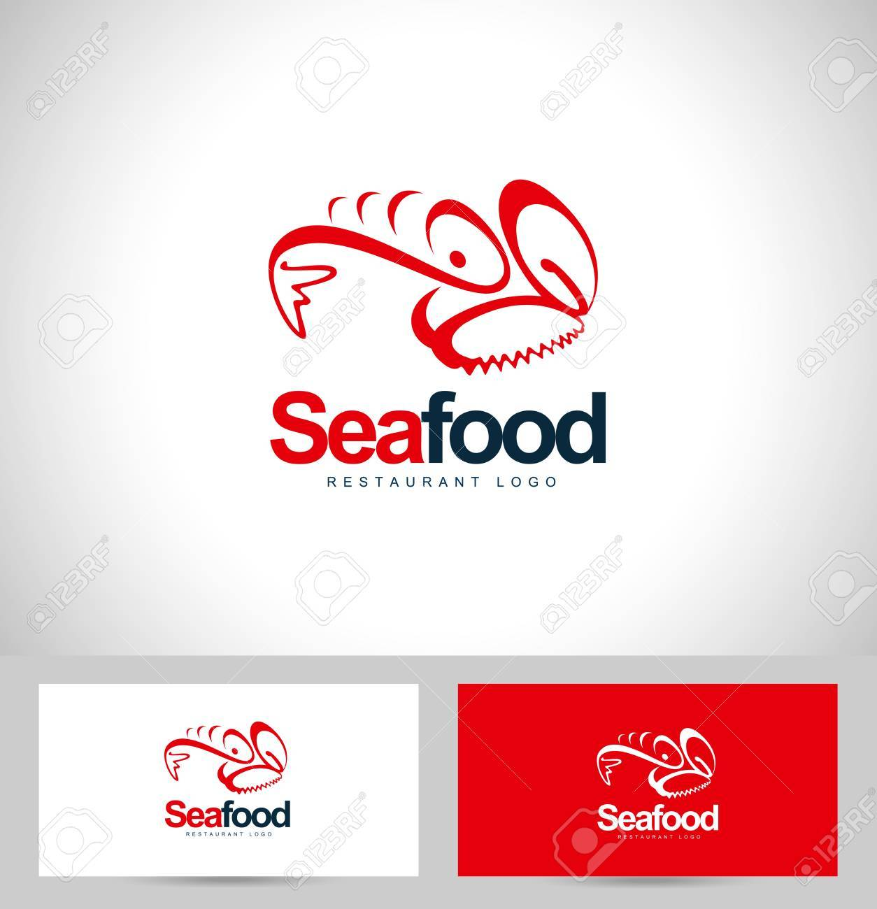 Seafood Restaurant Design. Creative concept with business card..