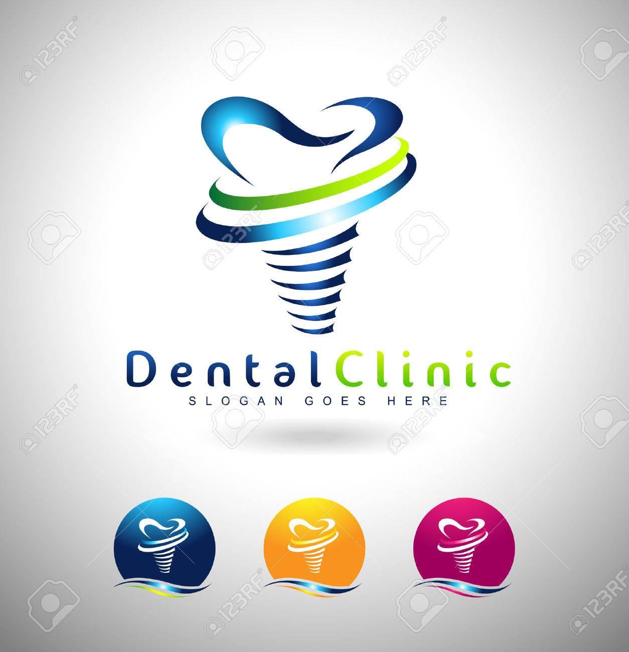 dental implant design dentist logo dental implants clinic creative