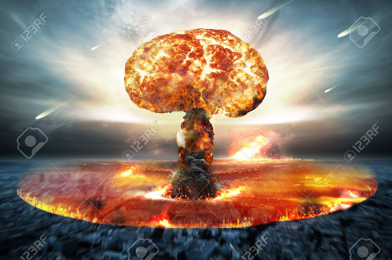 Danger of nuclear war illustration with multiple explosions - 46578271