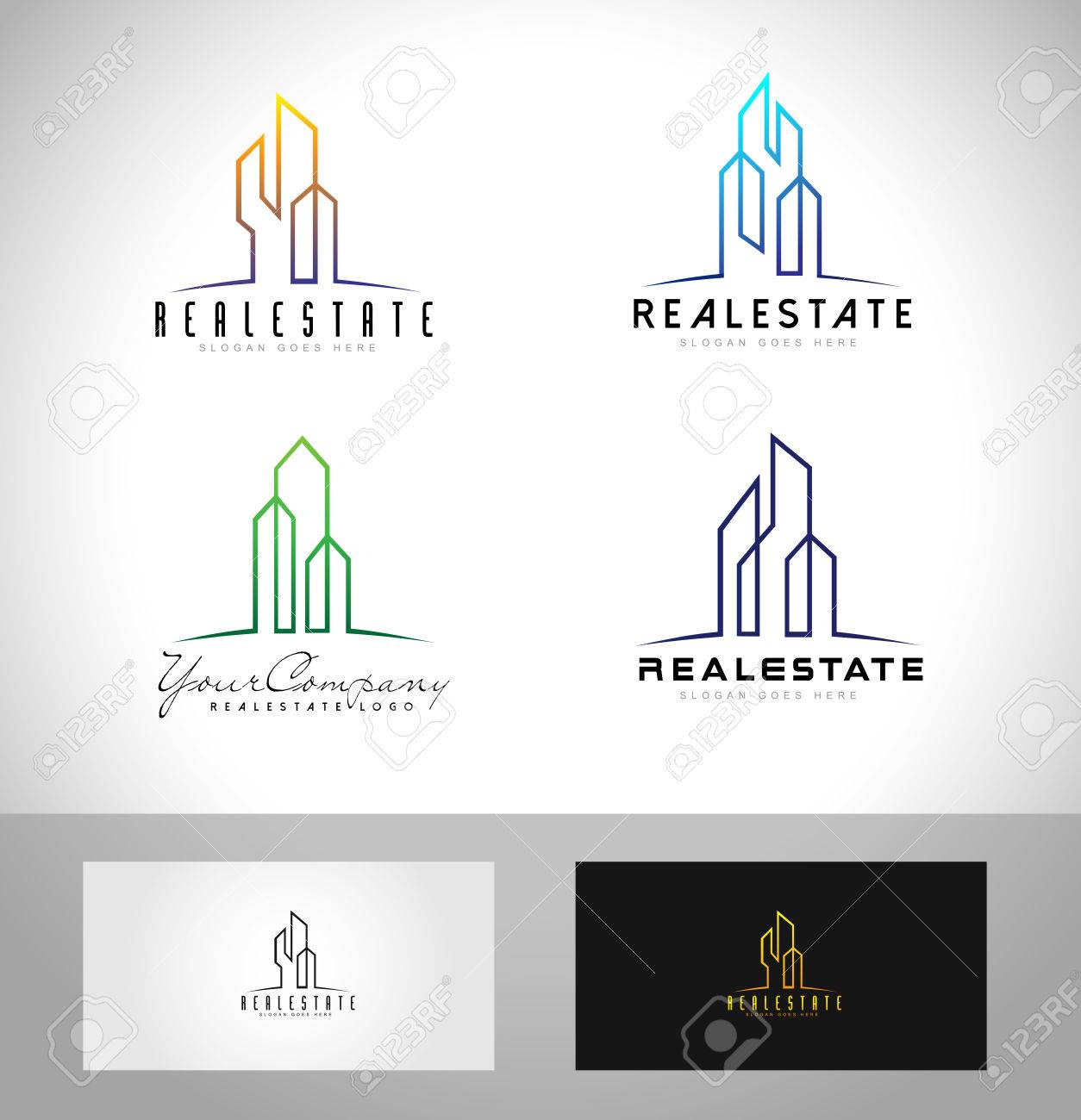 Real Estate Design. Creative Abstract Real Estate Icon And Business ...