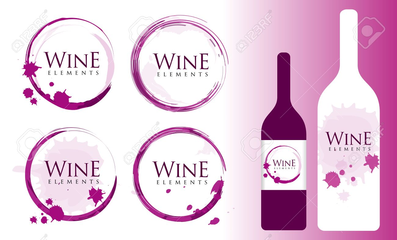 Kreative Wein Stain Set. Abzeichen Und Etiketten-Elemente Für Wein ...