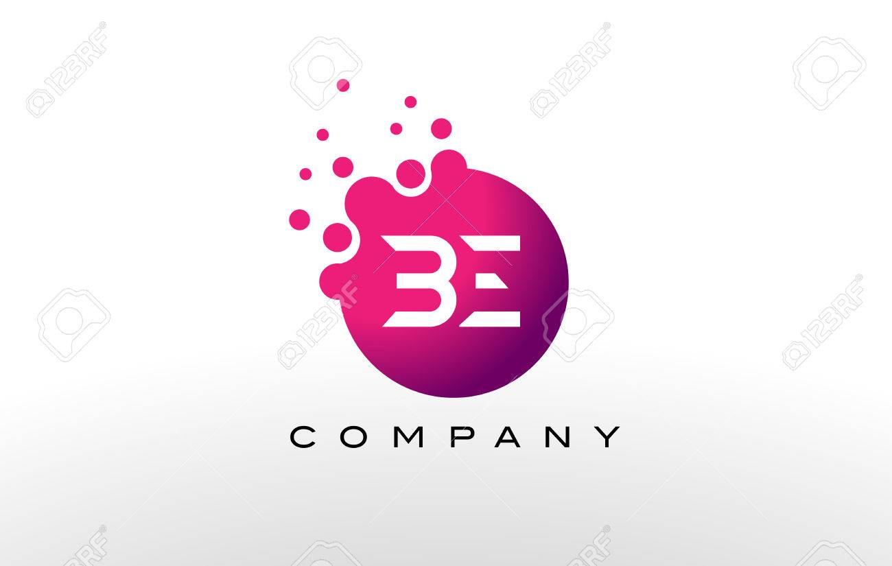 BE Letter Dots Logo Design With Creative Trendy Bubbles And Purple ...