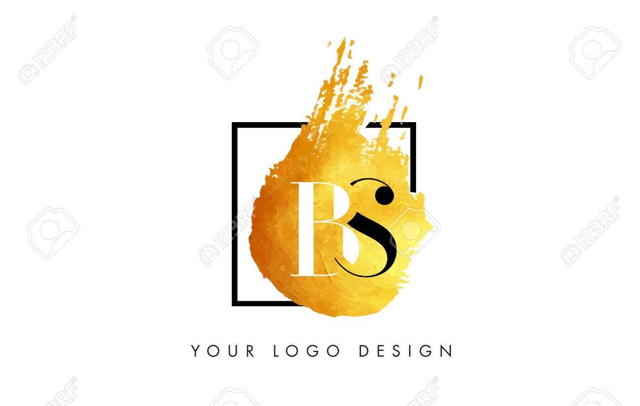 PS Gold Letter Brush Logo  Golden Painted Watercolor Background