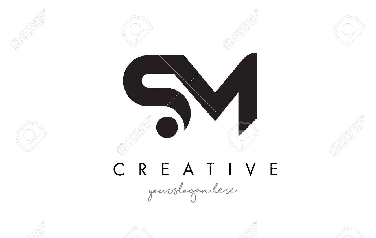 Sm Letter Logo Design With Creative Modern Trendy Typography And Black Colors Stock Vector