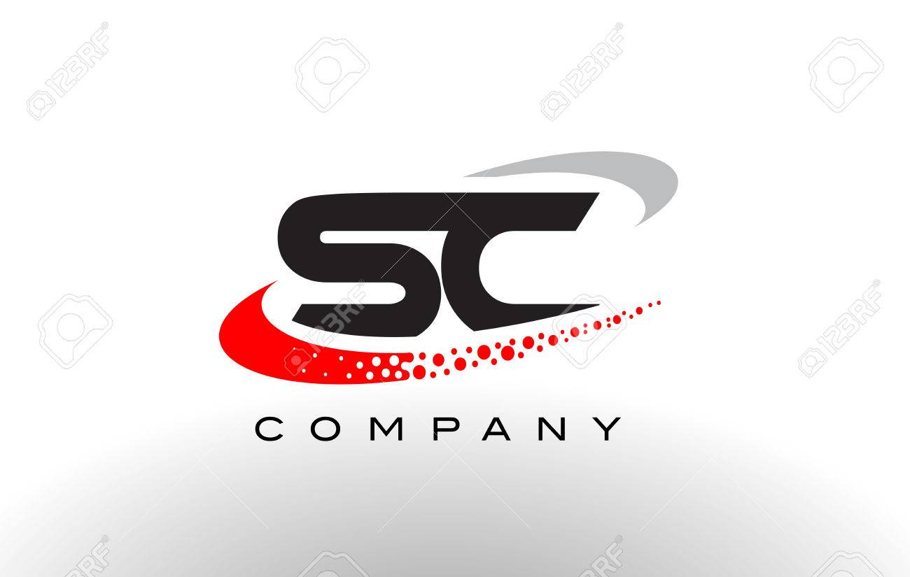 Sc Modern Letter Logo Design With Creative Red Dotted Swoosh
