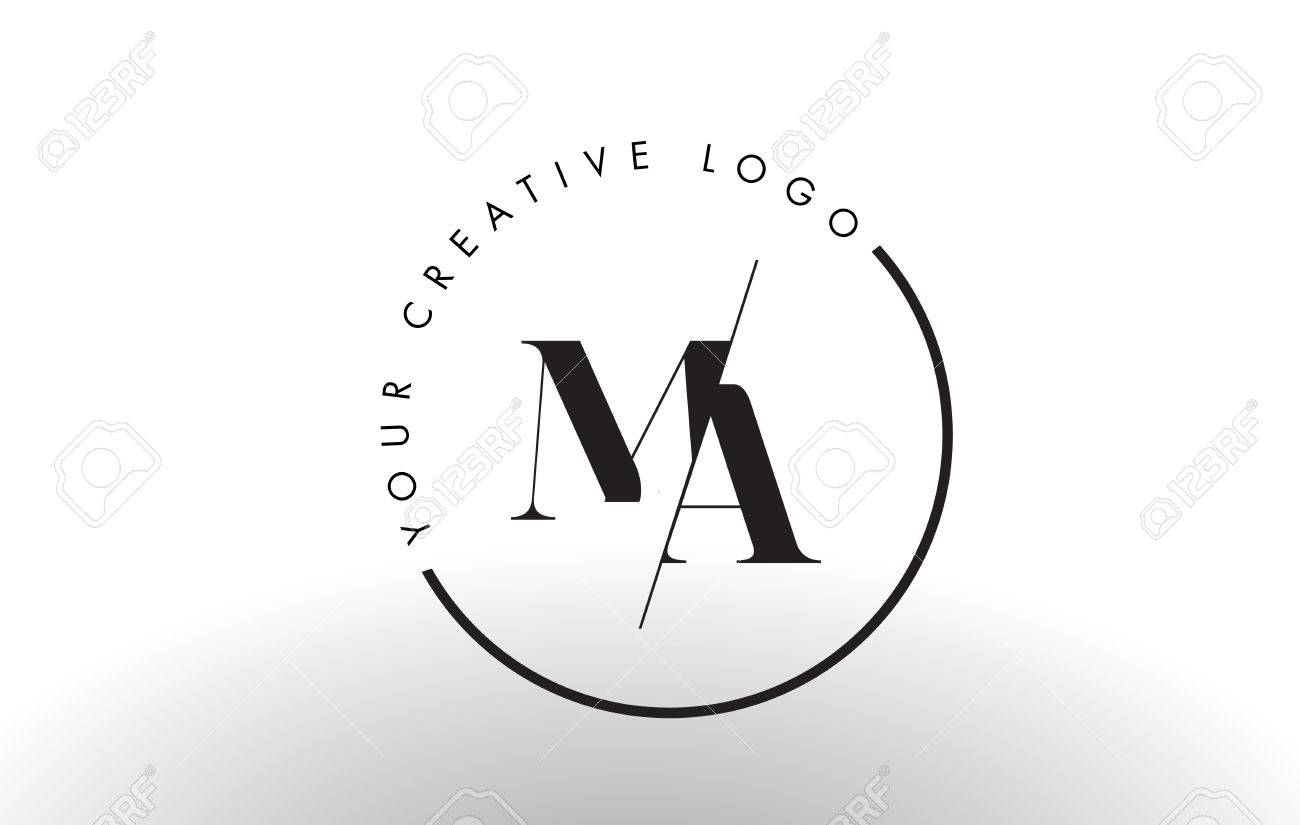 Ma Letter Logo Design With Creative Intersected And Cutted Serif Royalty Free Cliparts Vectors And Stock Illustration Image 74100282