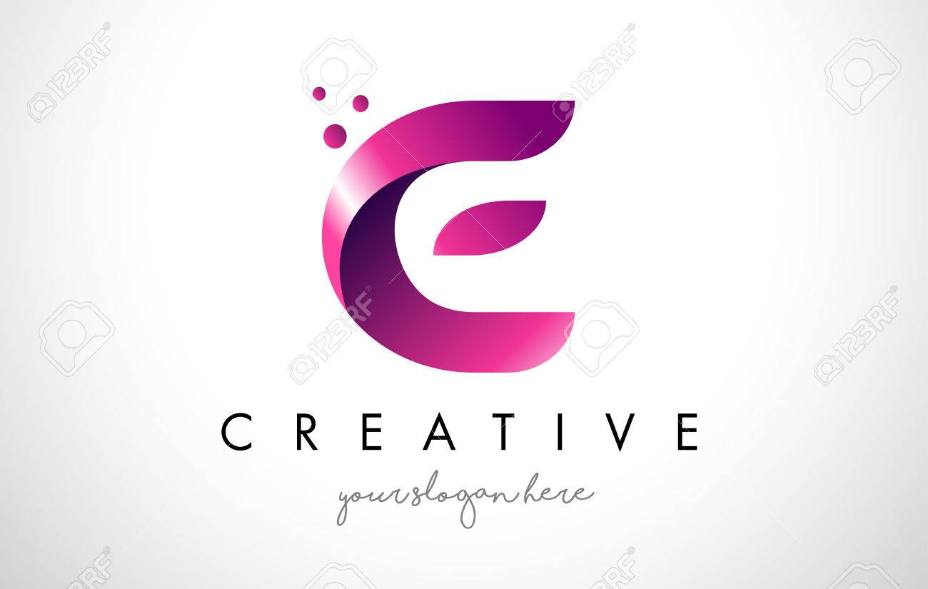 e letter logo design template with purple colors and dots royalty