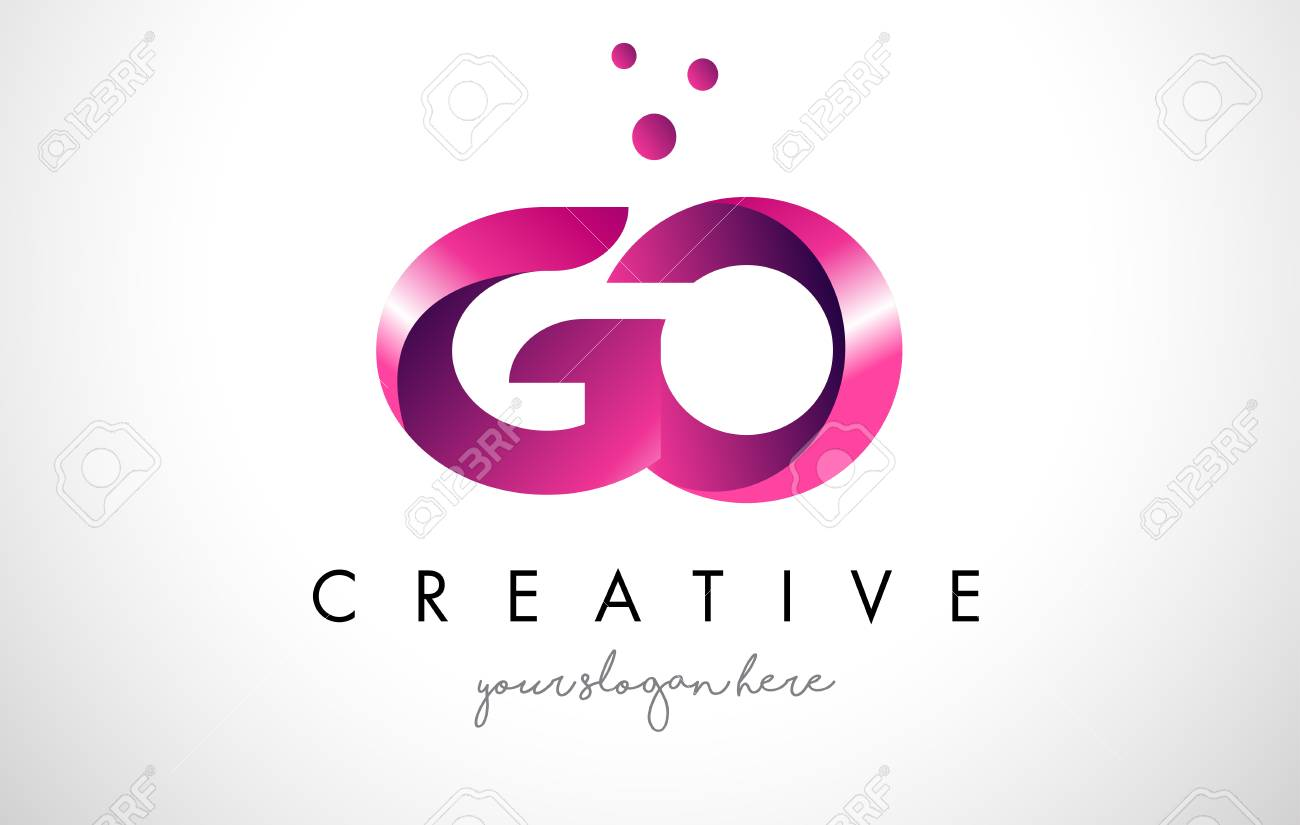 GO Letter Logo Design Template With Purple Colors And Dots Royalty ...