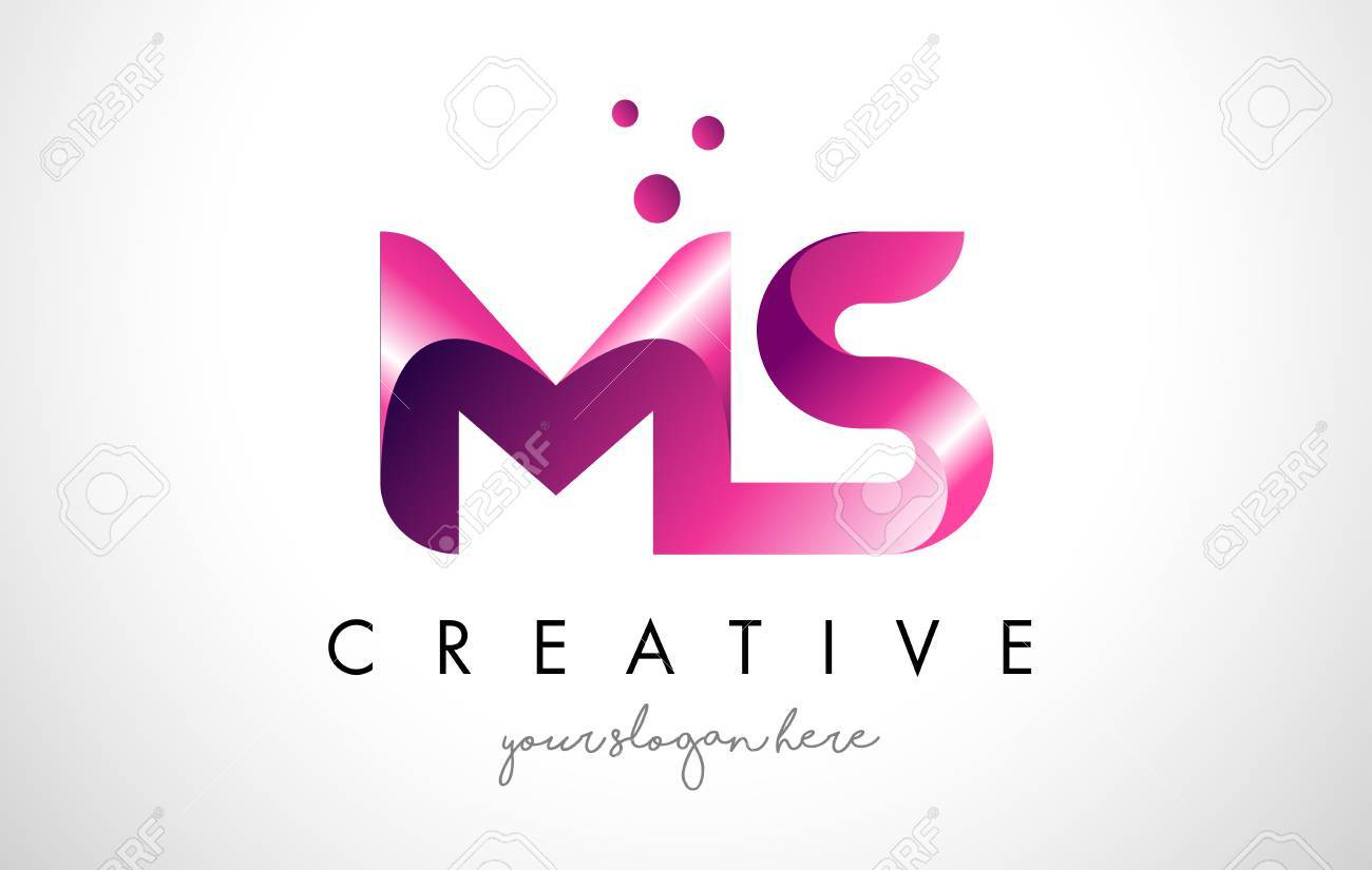 ms letter logo design template with purple colors and dots stock vector 74562987