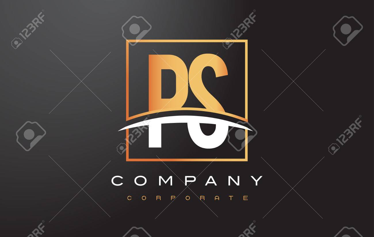 PS P S Golden Letter Logo Design with Swoosh and Rectangle Square