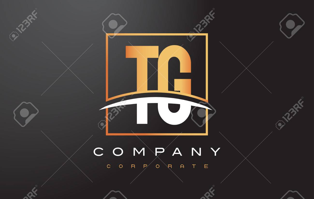 Tg T G Golden Letter Logo Design With Swoosh And Rectangle Square