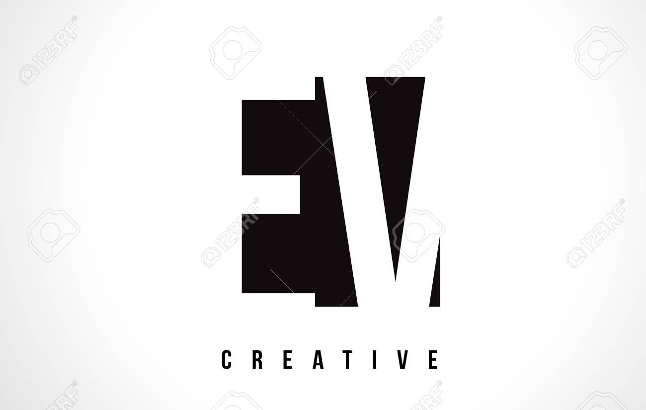 Ev E V White Letter Logo Design With Black Square Vector