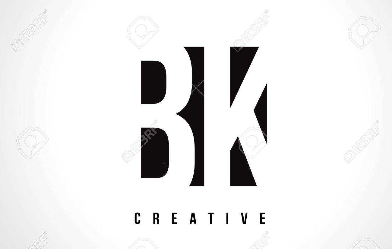 Bk B K White Letter Logo Design With Black Square Vector Illustration