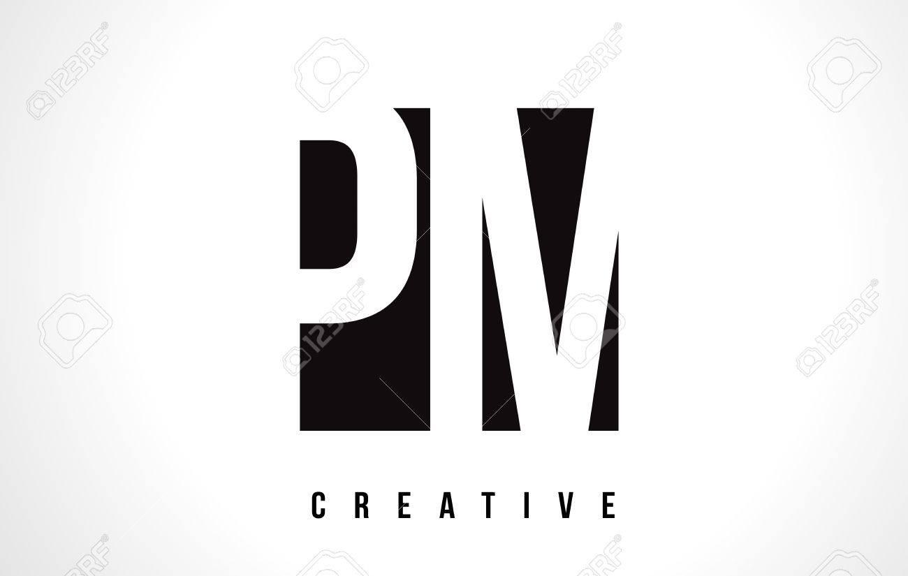 午後 p l ホワイト文字ロゴデザイン ブラックスクエア ベクトル イラスト