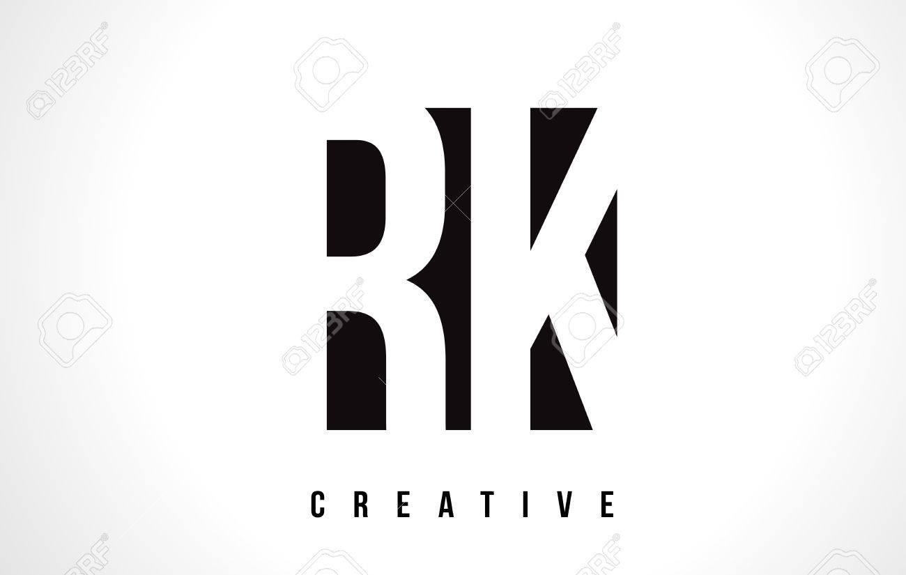 RK R K White Letter Logo Design with Black Square Vector Illustration Template. - 75298431