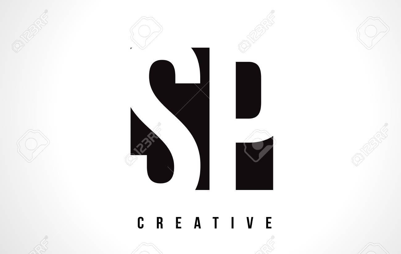 Sp S P White Letter Logo Design With Black Square Vector Illustration