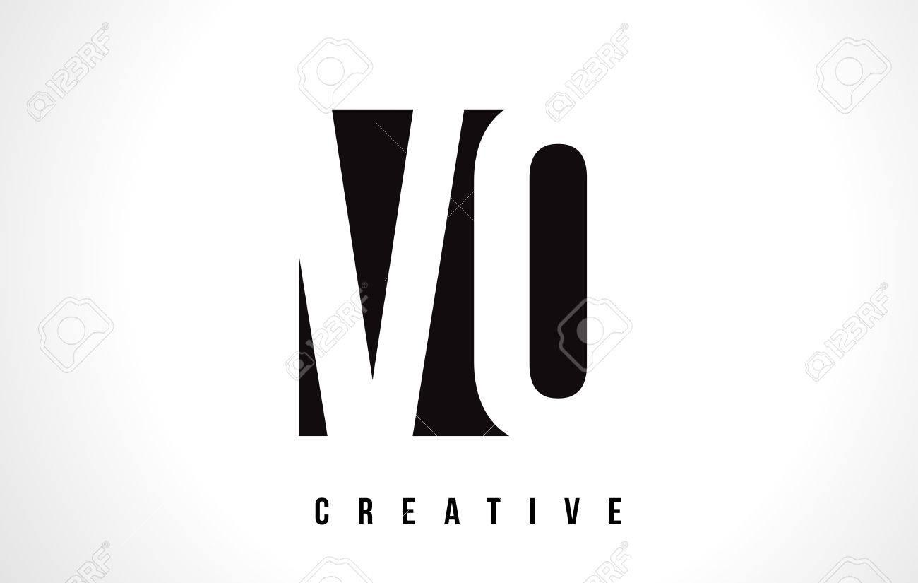 Vo V O White Letter Logo Design With Black Square Vector