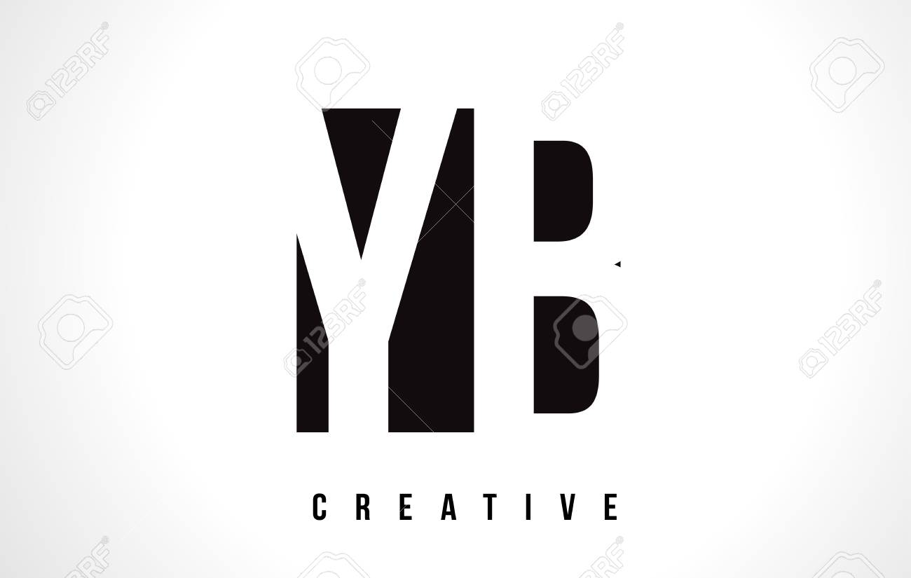 Yb Y B White Letter Logo Design With Black Square Vector