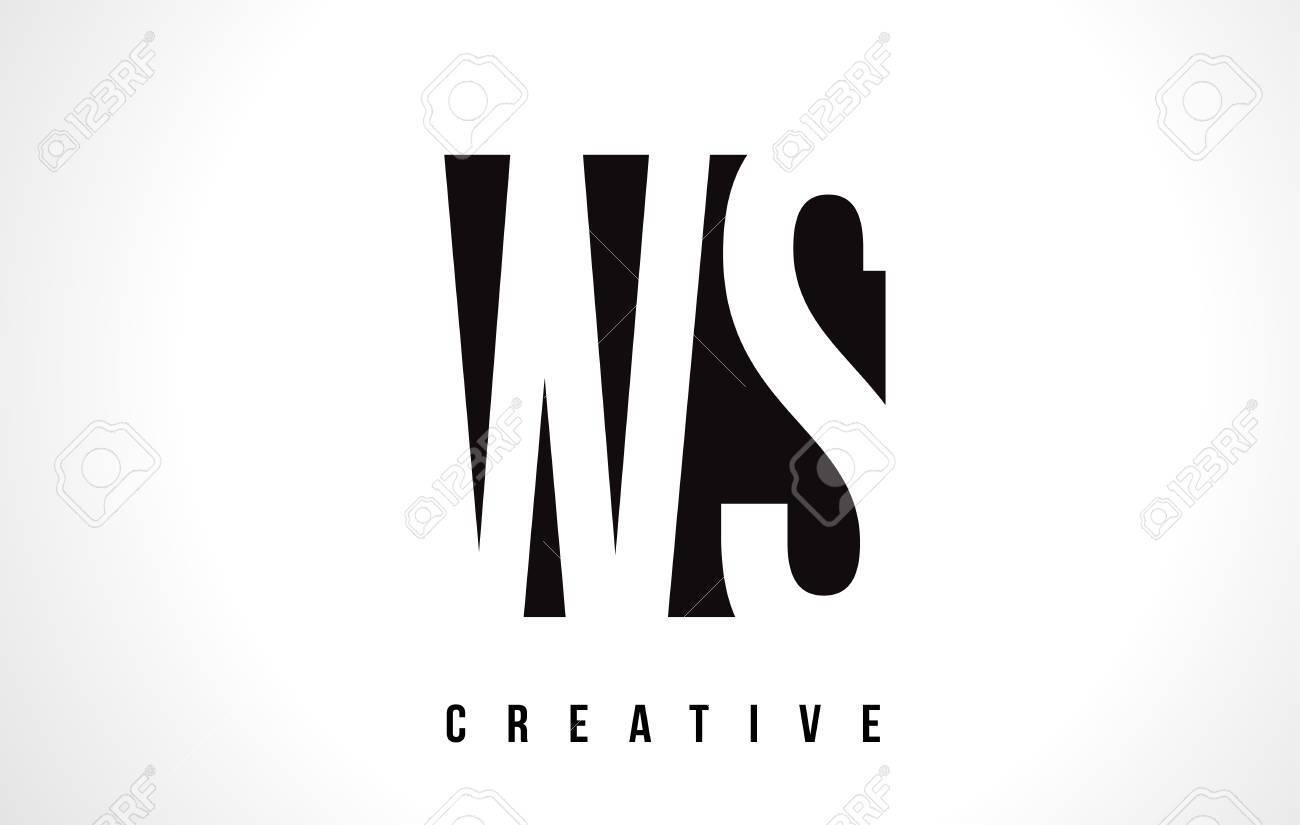 Ws W S White Letter Logo Design With Black Square Vector