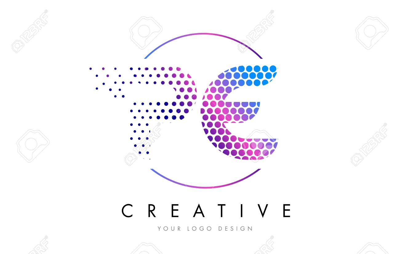 Pe P E Pink Magenta Dotted Bubble Letter Logo Design Dots Lettering