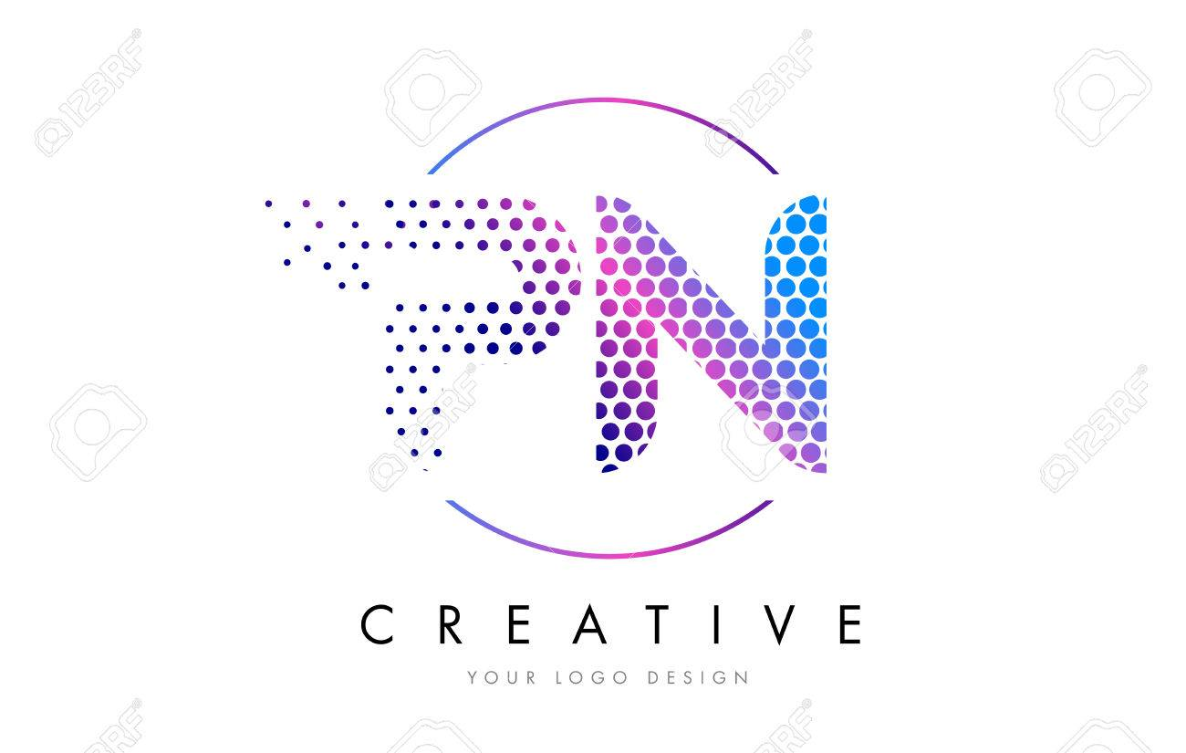 pn design PN P N Pink Magenta Dotted Bubble Letter Logo Design. Dots  pn design
