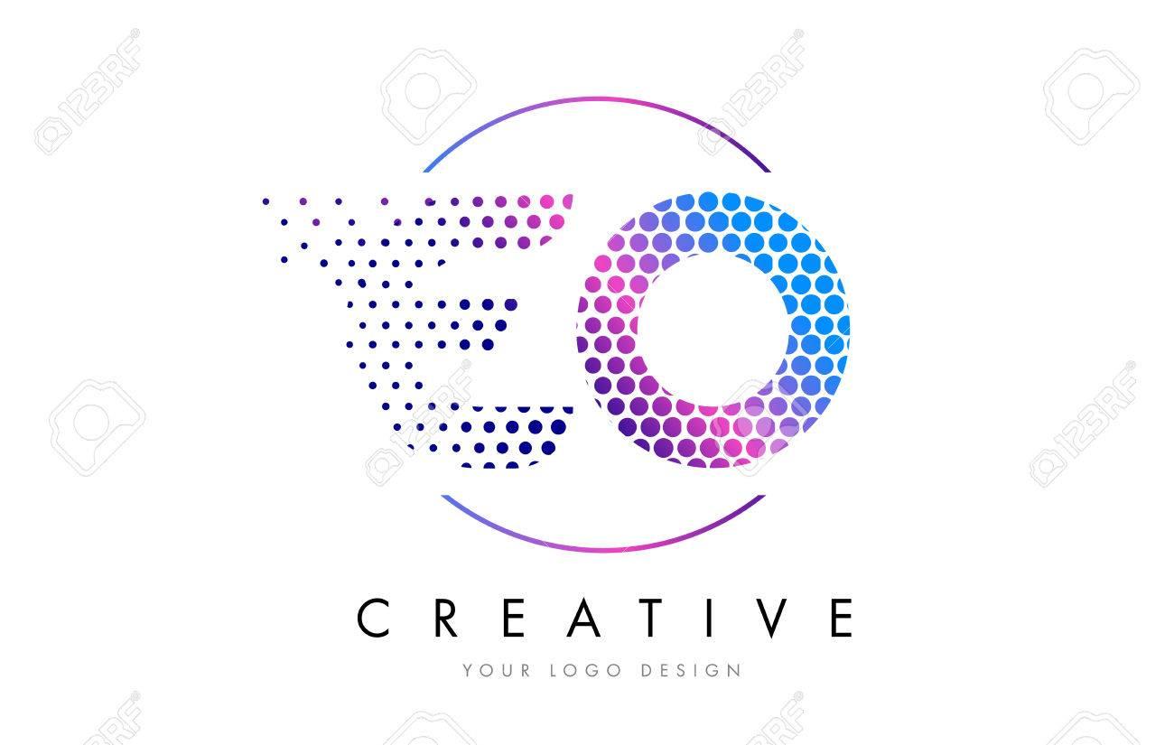 EO E O Pink Magenta Dotted Bubble Letter Logo Design Dots Lettering Vector Illustration Stock