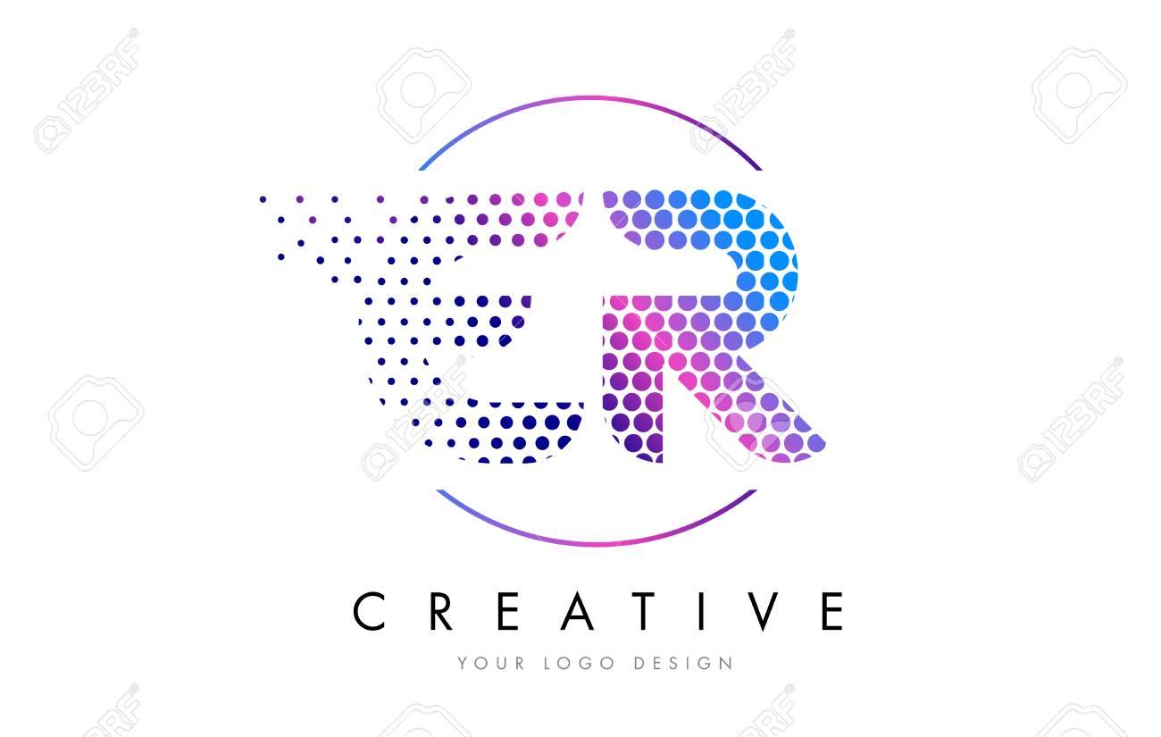 ER E R Pink Magenta Dotted Bubble Letter Logo Design. Dots Lettering Vector Illustration - 75848242