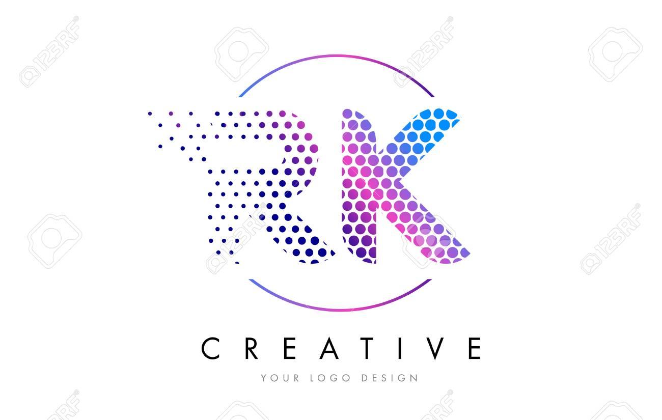 RK R K Pink Magenta Dotted Bubble Letter Logo Design. Dots Lettering Vector Illustration - 75848290