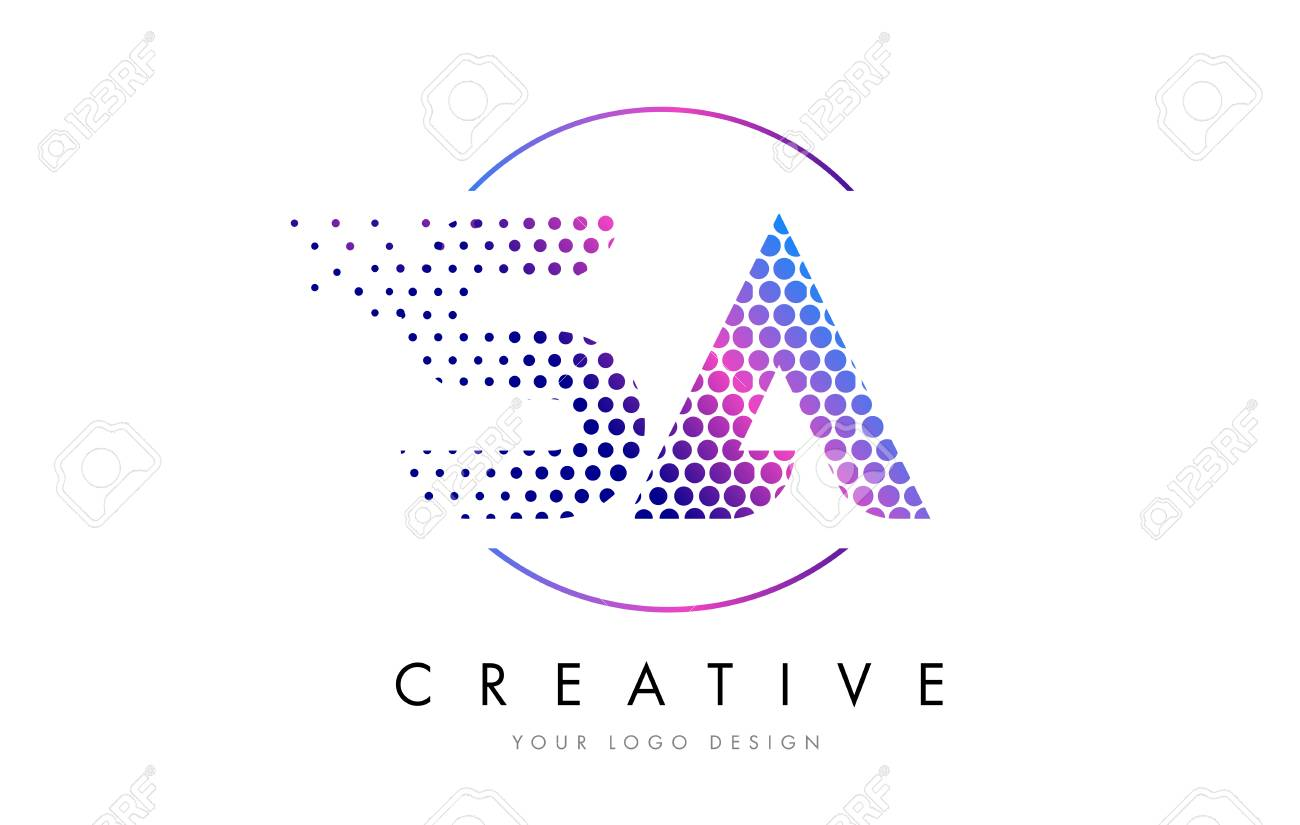 Sa S A Pink Magenta Dotted Bubble Letter Logo Design Dots Lettering