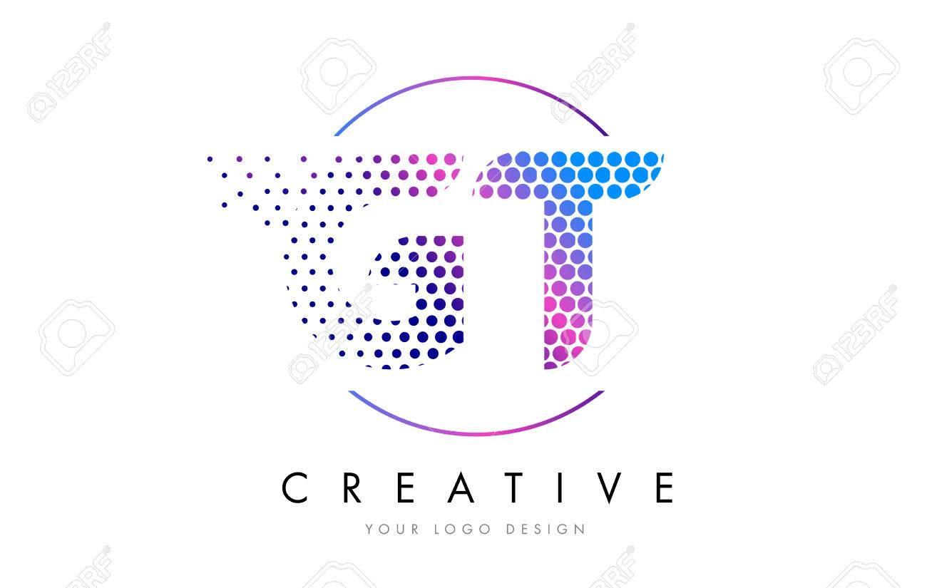 GT G T Pink Magenta Dotted Bubble Letter Logo Design Dots Lettering Vector Illustration Stock