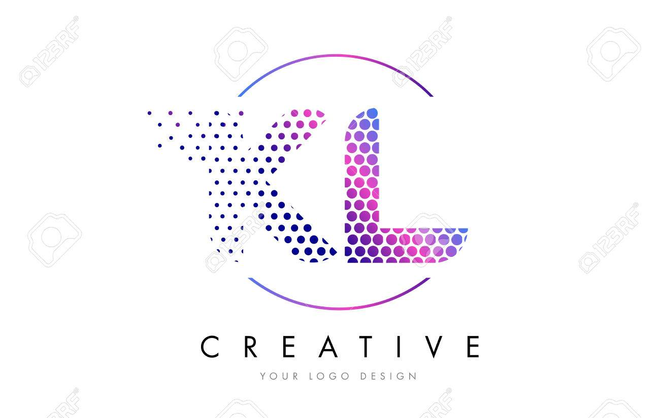 KL K L Pink Magenta Dotted Bubble Letter Logo Design Dots Lettering Vector Illustration Stock