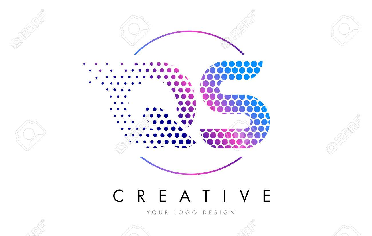 QS Q S Pink Magenta Dotted Bubble Letter Logo Design Dots Lettering Vector Illustration Stock