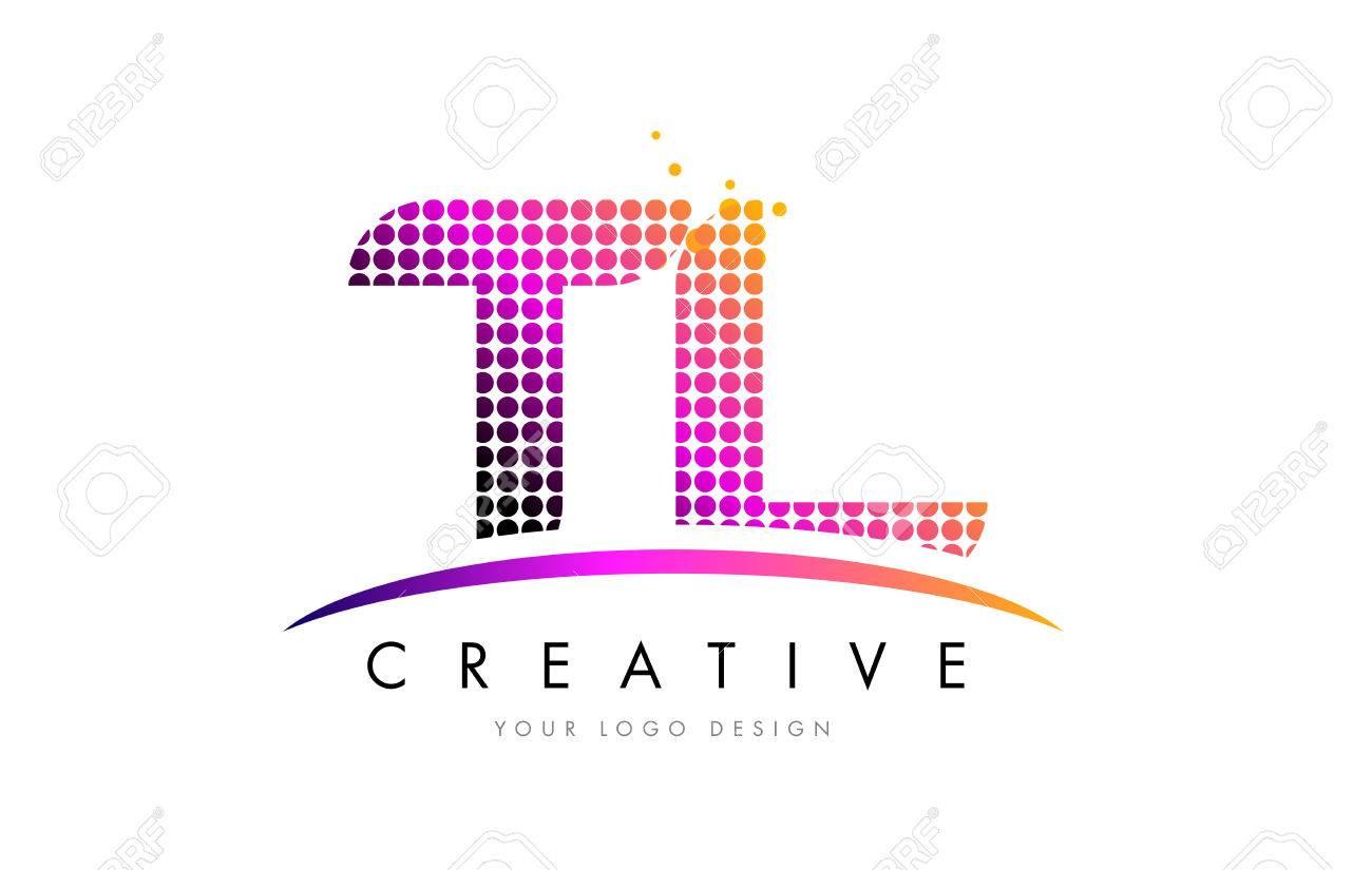 TL T L Dots Letter Logo Design with Magenta Bubble Circles and Swoosh - 75943024