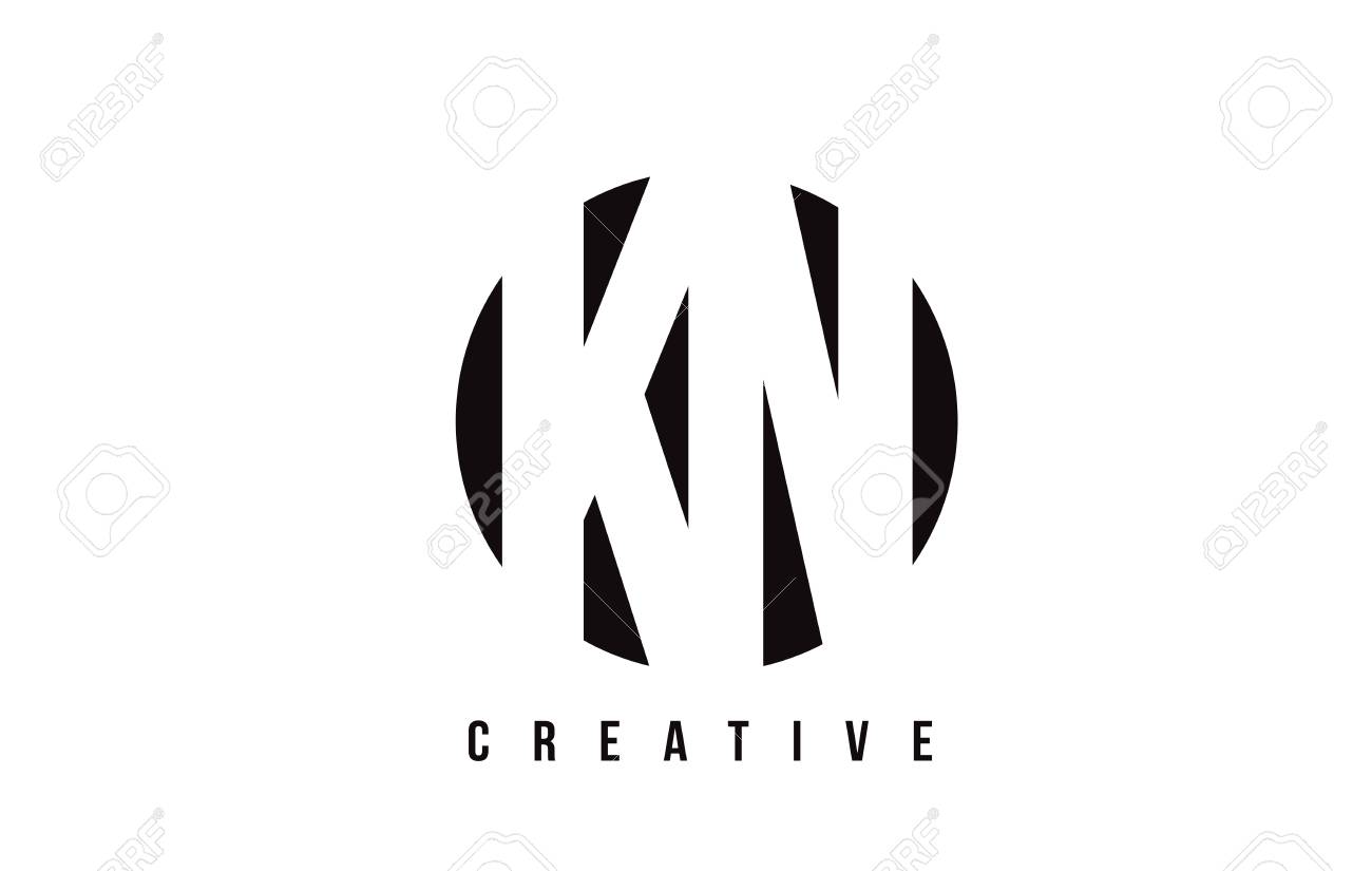 Kn K N White Letter Logo Design With Circle Background Vector