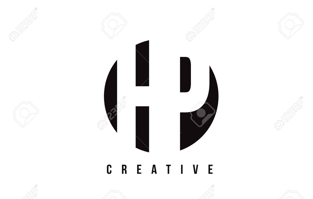 HP H P White Letter Logo Design With Circle Background Vector ...