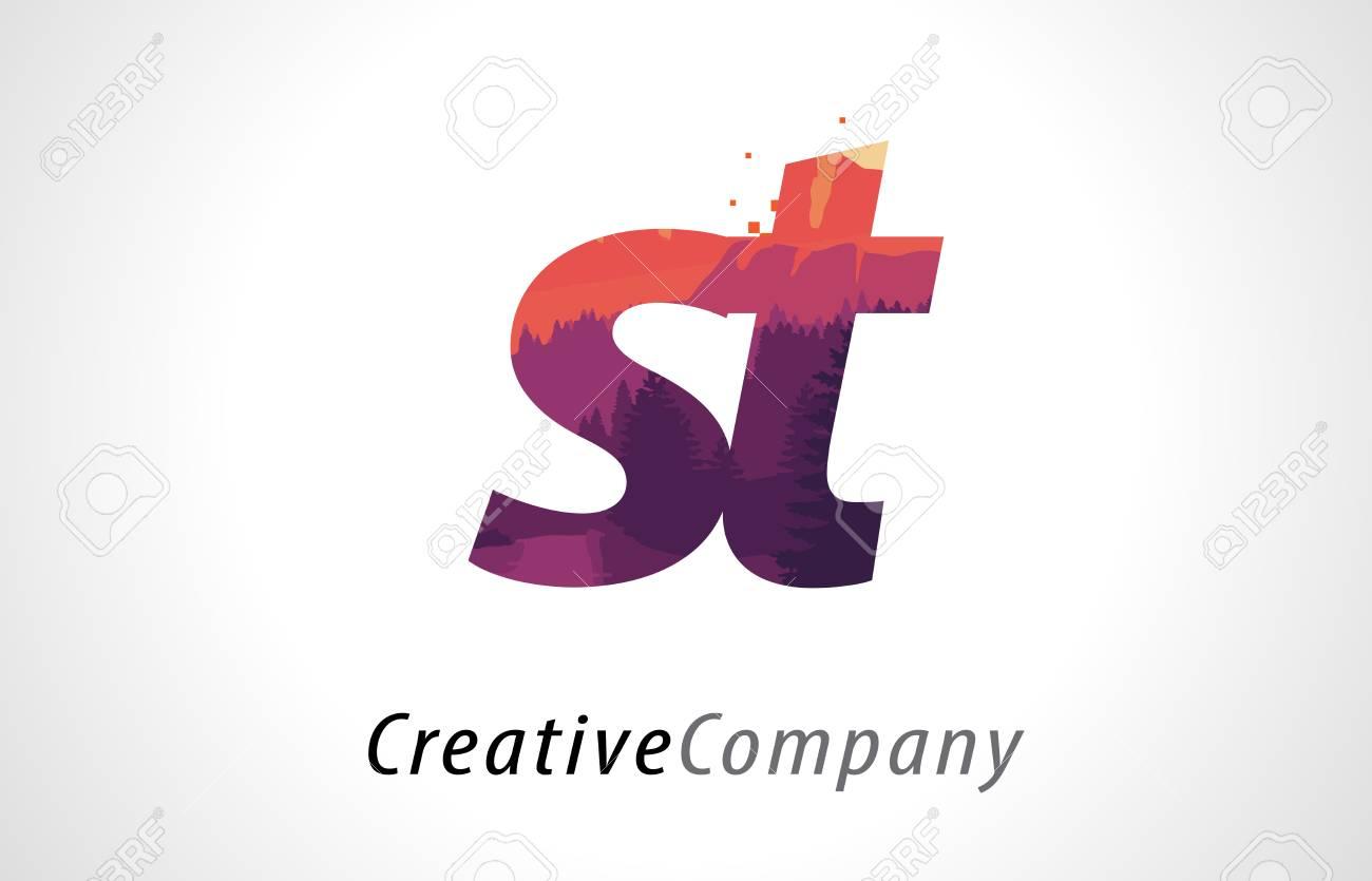 St S T Letter Logo Design With Purple Orange Forest Texture Flat