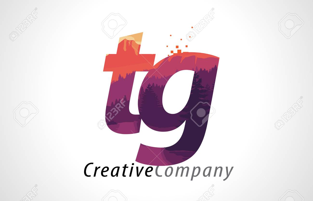 Tg T G Letter Logo Design With Purple Orange Forest Texture Flat