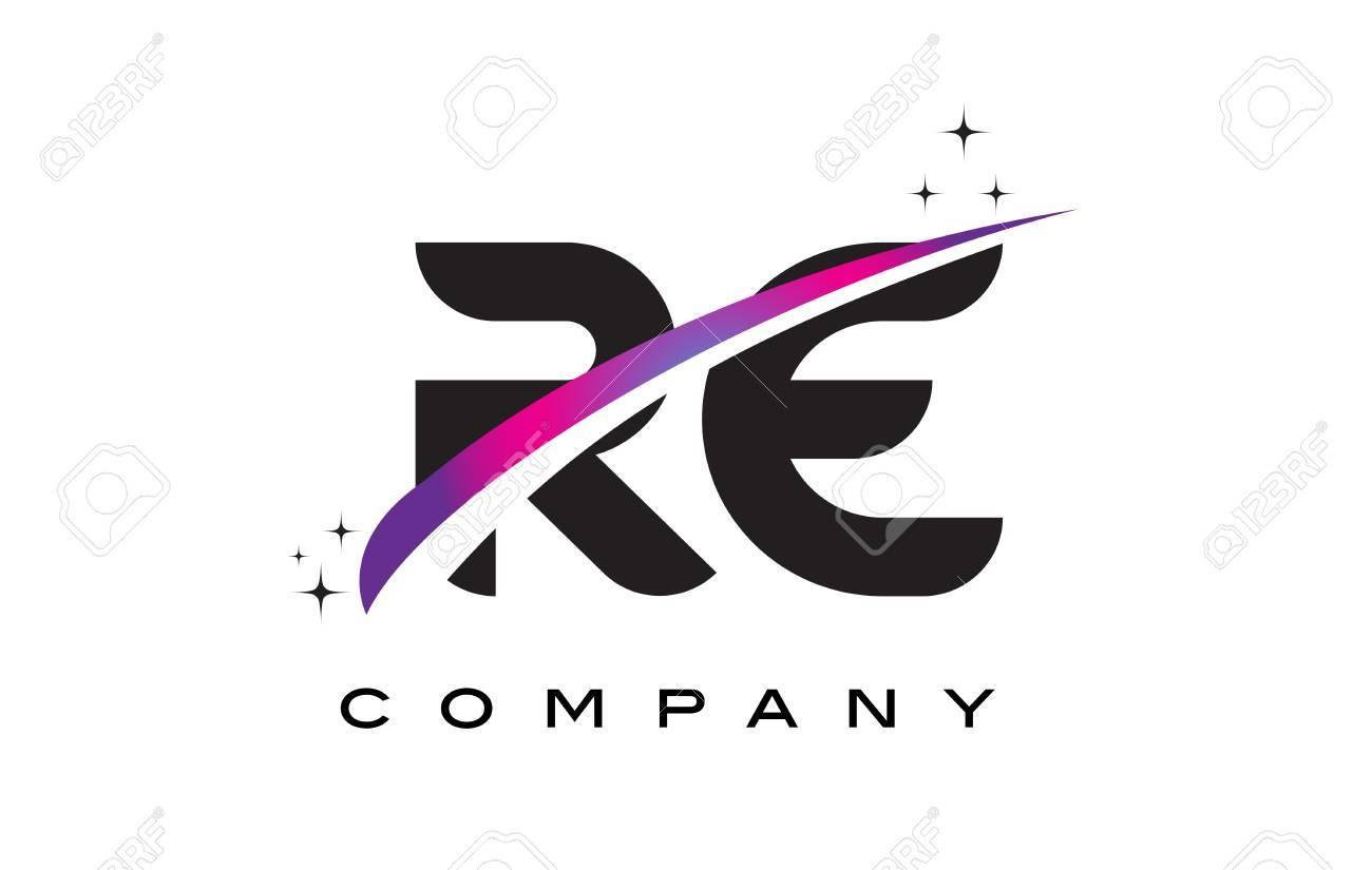 RE R E Black Letter Logo Design With Purple Magenta Swoosh And Stars Stock Vector