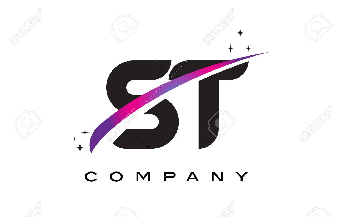 St S T Black Letter Logo Design With Purple Magenta Swoosh And